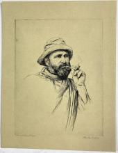 John Barclay Godson, (1882-1957), The Fisherman's Pipe, Etching ed. Uneditioned on beige paper