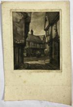 John Barclay Godson, (1882-1957), Old Shops, Ipswich, Etching/aquatint ed. Uneditioned