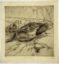 "John Barclay Godson, (1882-1957), Yorkshire ""Cobles"", Etching ed. 10/30"