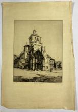 John Barclay Godson, (1882-1957), Church, Montreuil (L'Eglise, Saint Saulve, Montreuil, France), Etching/drypoint ed. 22/50