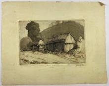John Barclay Godson, (1882-1957), Bush Huts, NSW, Etching/aquatint ed. uneditioned