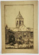 John Barclay Godson, (1882-1957), Bell Tower, Etching ed. 2nd Proof