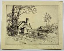 John Barclay Godson, (1882-1957), Bush Architecture, Etching ed. Proof