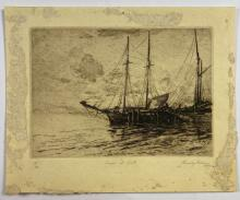 John Barclay Godson, (1882-1957), Scows at Rest, Etching ed.18/50