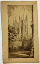 John Barclay Godson, (1882-1957), Cathedral Towers, St Andrews, Sydney, Etching ed. uneditioned