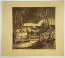 John Barclay Godson, (1882-1957), A Valley Farm, Etching ed.8/75