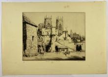 John Barclay Godson, (1882-1957), Bootham Bar & Minster, York, Etching/drypoint ed.17/50