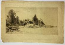 John Barclay Godson, (1882-1957), A Bend in the Road, Pittwater c.1930s, Etching/drypoint ed. uneditioned