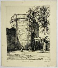 John Barclay Godson, (1882-1957), Entrance to Gaol, Berrima, Etching ed.9/50