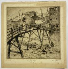 John Barclay Godson, (1882-1957), The Old Bridge, Straithes, Yorkshire, Etching ed. No. 20