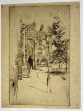 John Barclay Godson, (1882-1957), The Lamp Post, My First Plate 18 December 1909, Etching ed. 2nd State