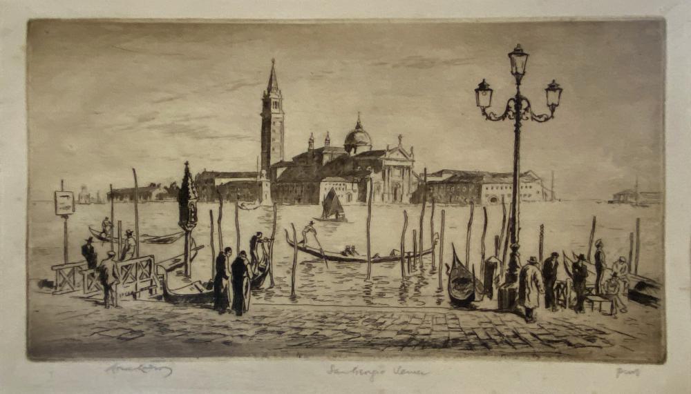 Lionel Arthur Lindsay, (1874-1961), San Giorgio, Venice 1938, Etching ed. Proof