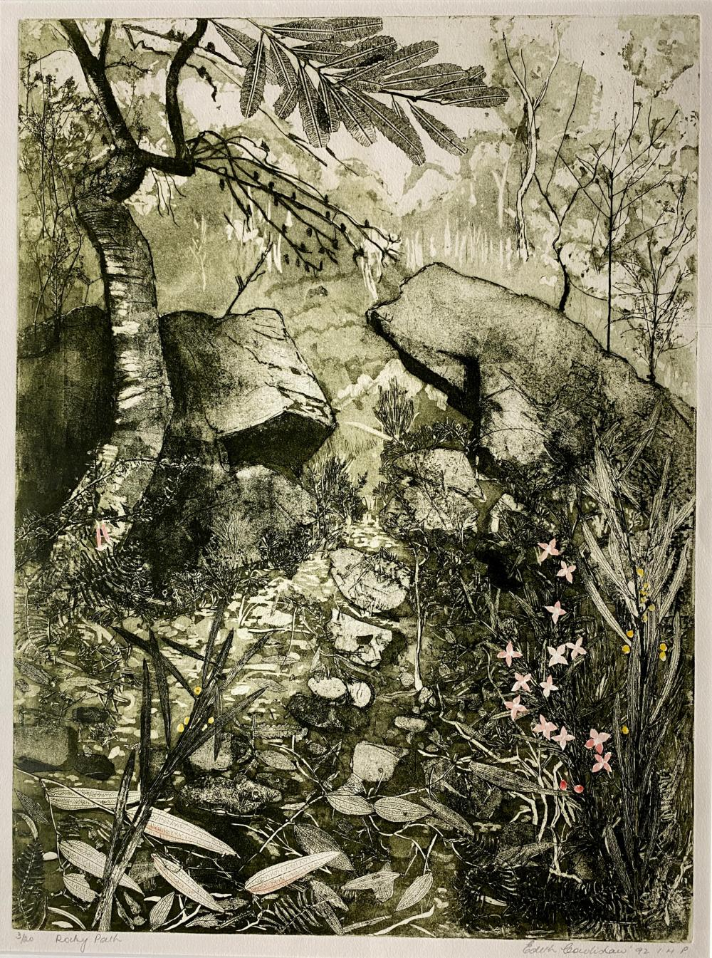 Edith Cowlishaw, (1924-), Rocky Path 1992, Handcoloured etching ed. 3/20