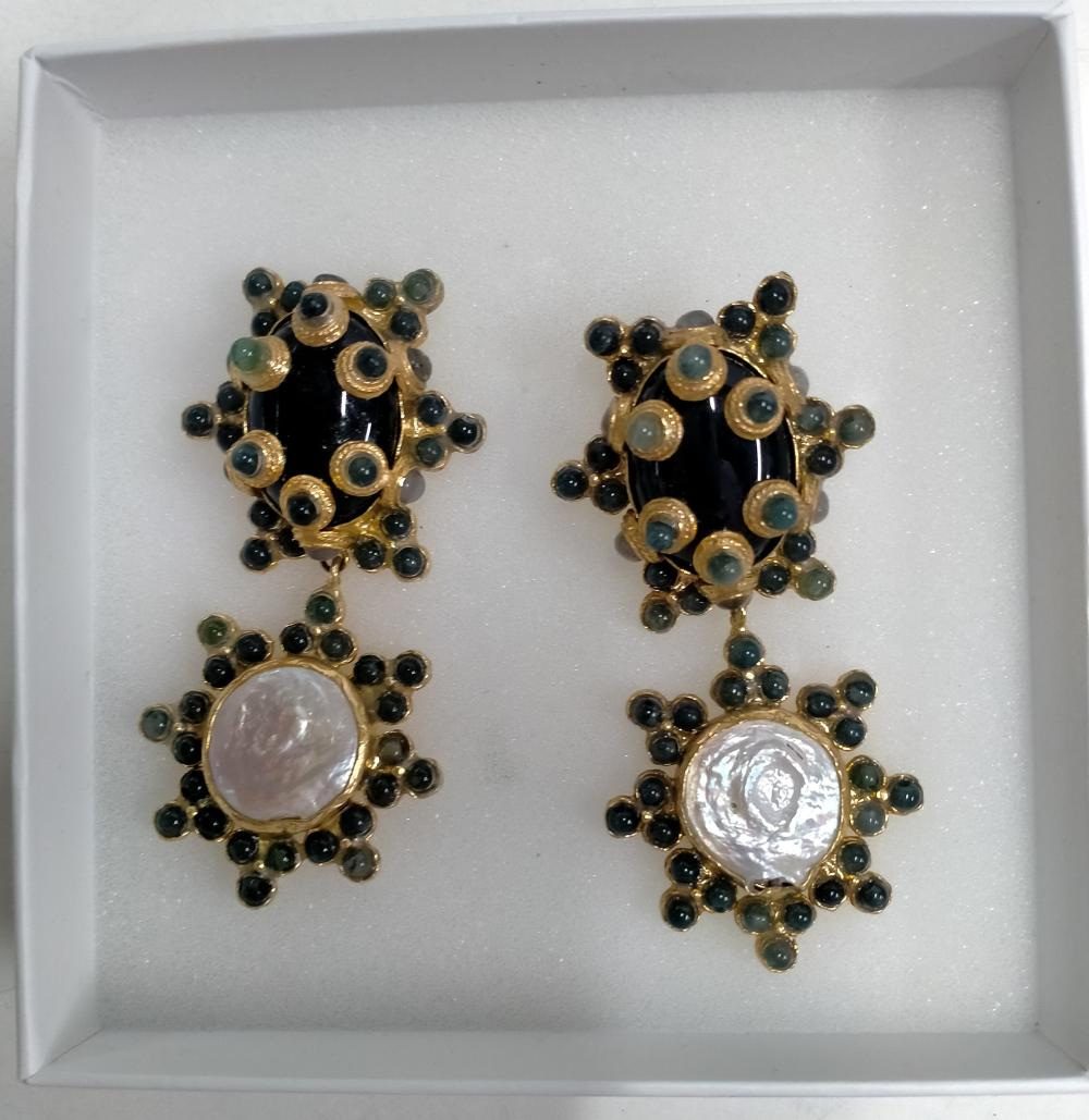 A designer pair of earrings marked TDWH The Devil plus ring & bracelet marked Embella in original boxes