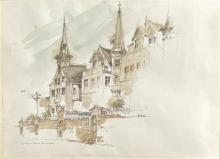 Allan Gamble (1907-2001) The Witches Houses, Annandale 1984 Pen, ink & wash