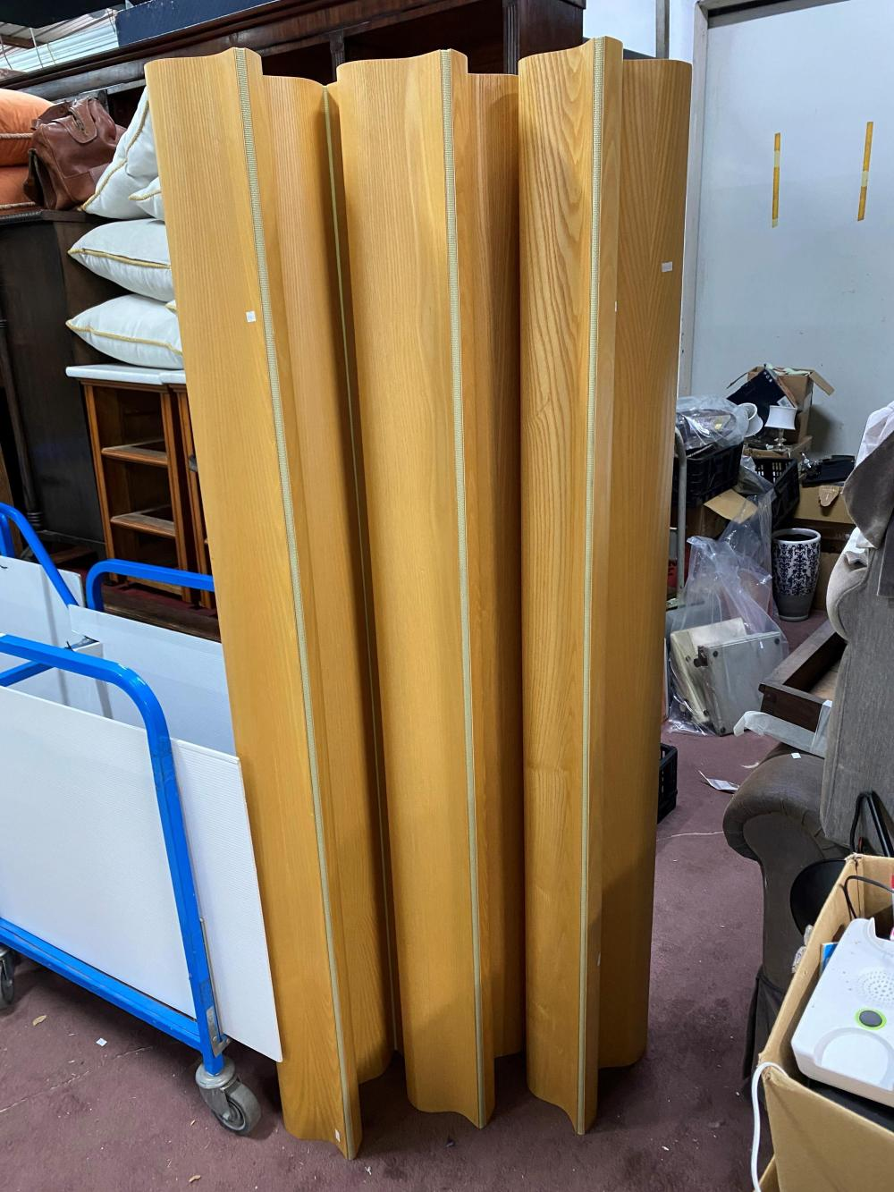 A Charles & Ray Eames Calico Ash Undulating Folding Screen