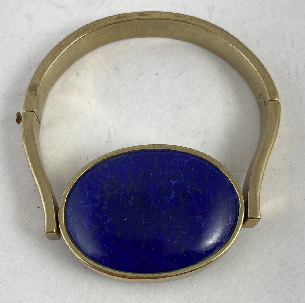 A Gold Plate Hinged, Swing Bracelet, Lapis Lazuli to One Side & Onyx to the Reverse