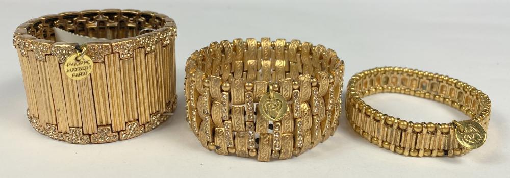 Philippe Audibert, Paris: Three Gold Plated & Crystal Manchette Cuffs