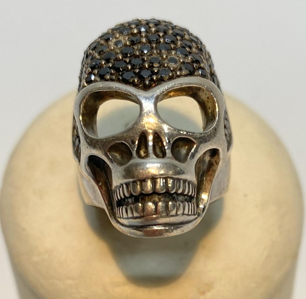 Thomas Sabo: Sterling Silver & Black Crystal Skull Ring