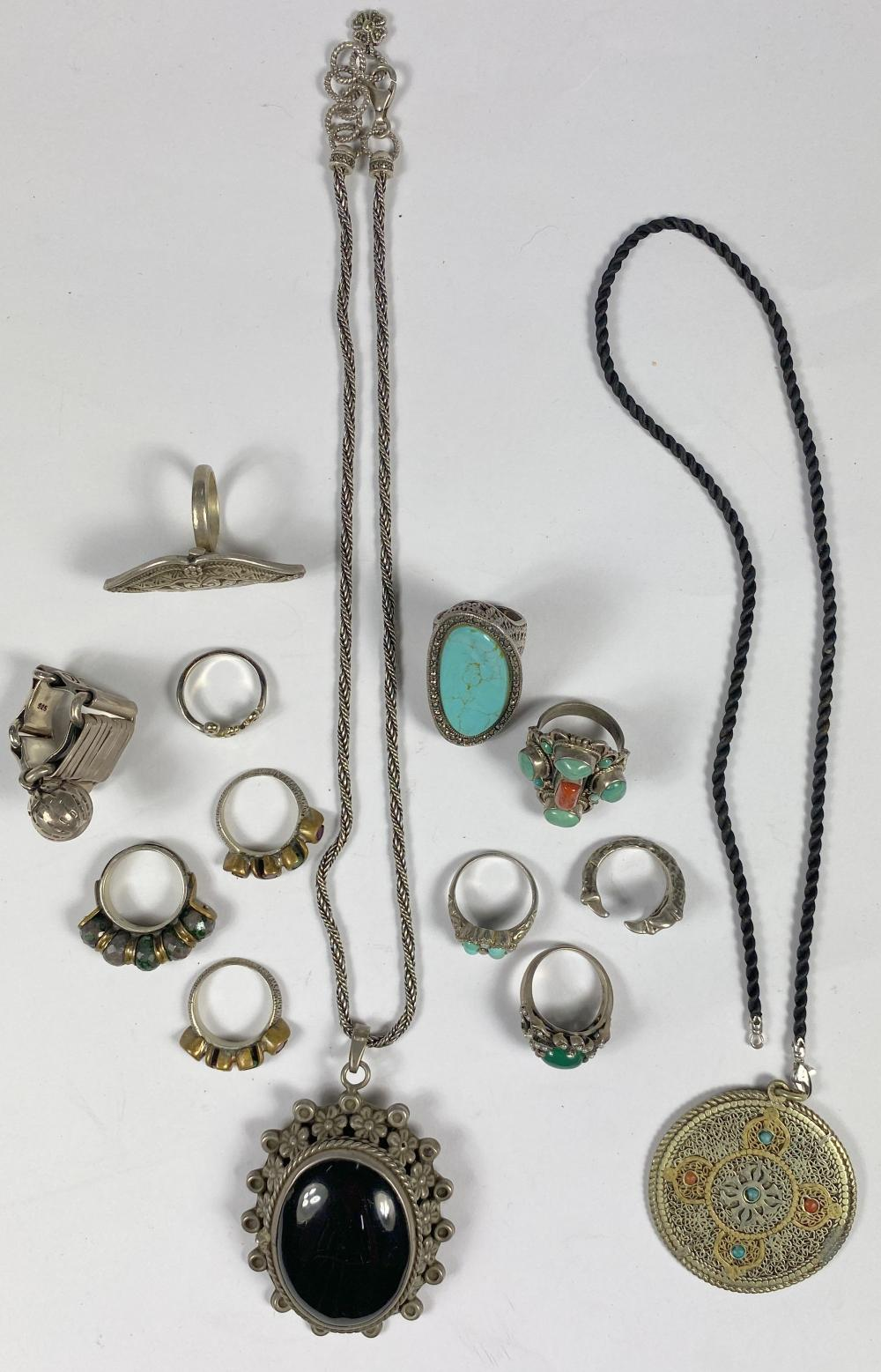 A Collection of Indian Silver & Stone Jewellery including Pendants & Rings