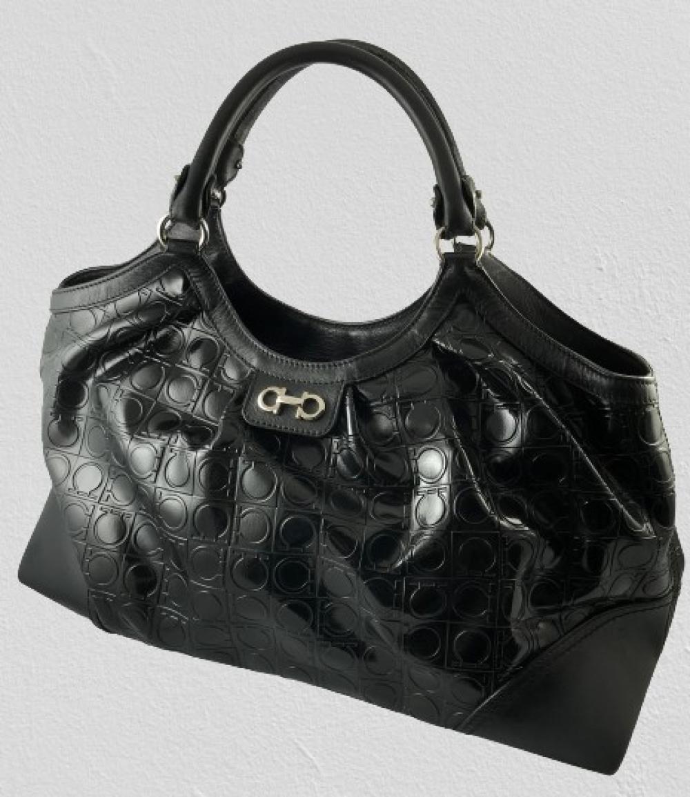 Salvatore Ferragamo: Black Leather & Logo Embossed Patent Canvas Double Handle Boho Bag,