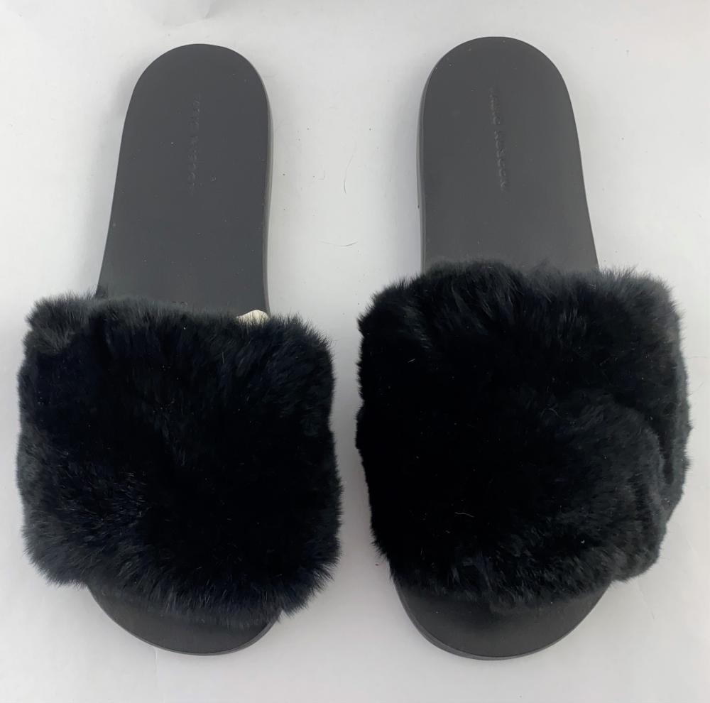 Fabio Rusconi: Black Leather & Rabbit Fur Flat Slides
