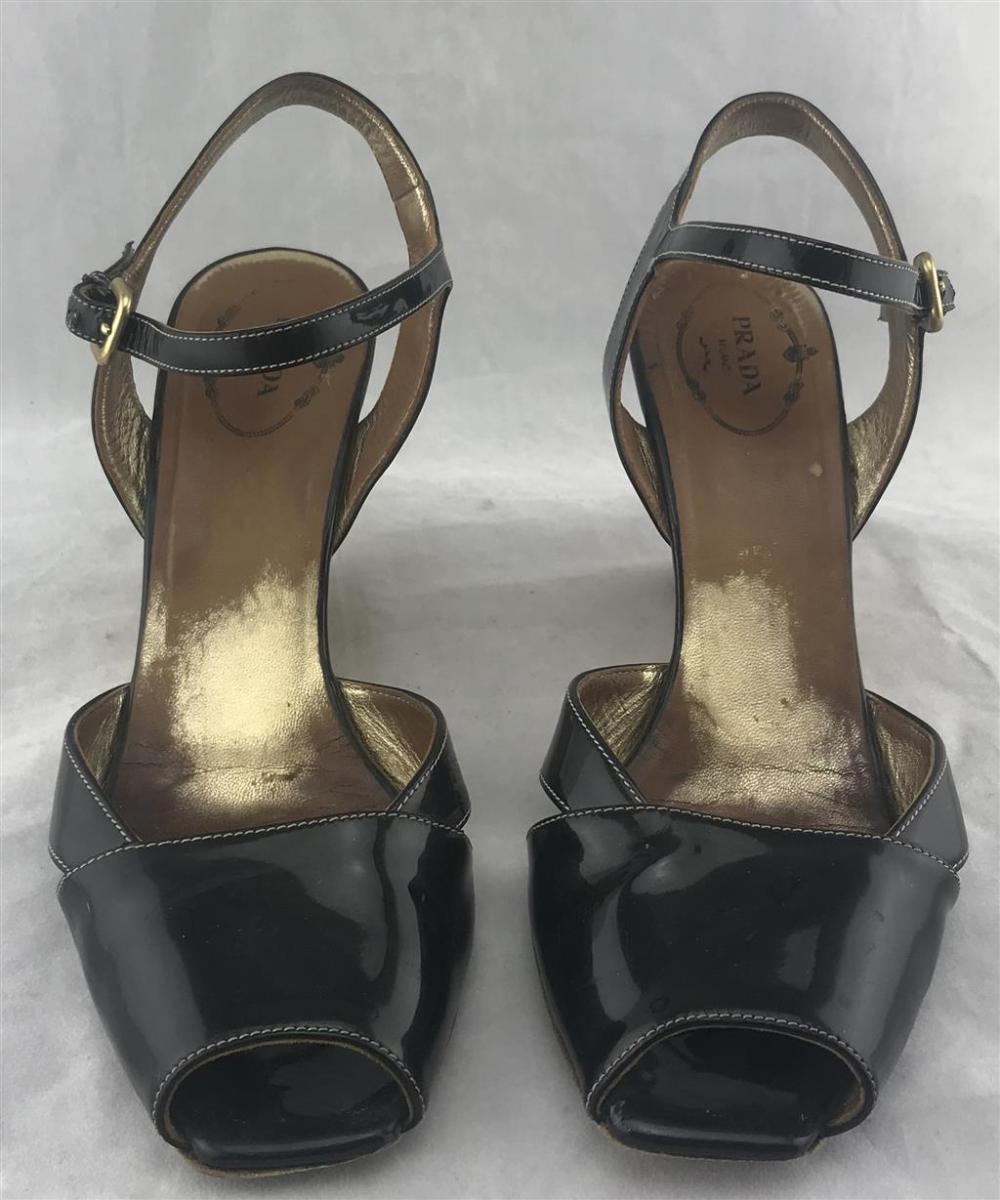Prada, Milan: Black Patent Leather Peeptoe Timber Wedge Sandals,