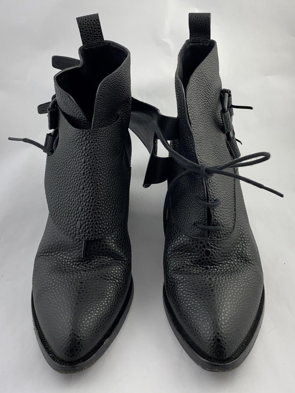 Alexander Wang: Black Pebbled Leather Ankle Boots, Buckled Front Lace Cover