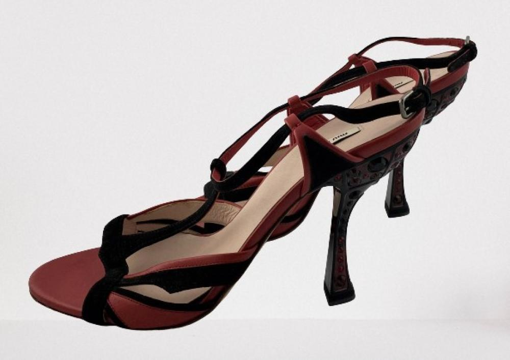 Miu Miu: Red Leather & Black Suede T-Bar Evening Shoes, Black & Red Crystal Encrusted Statement Shape Heel