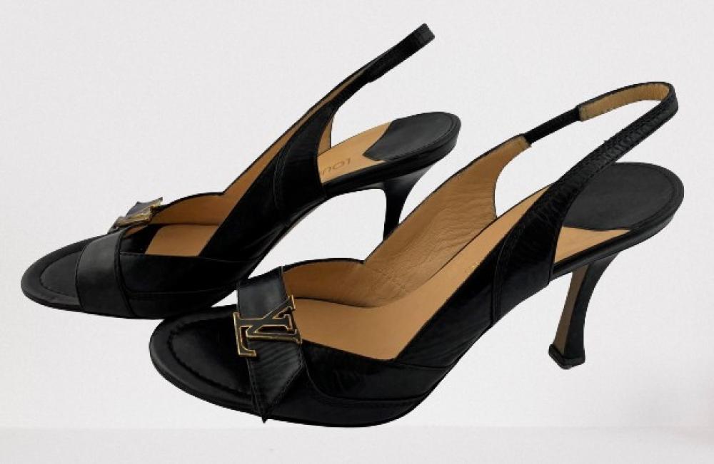 Louis Vuitton, Paris: Black Leather Slingbacks, Tall Leather Covered Kitten Heel, Logo Detail to Toe