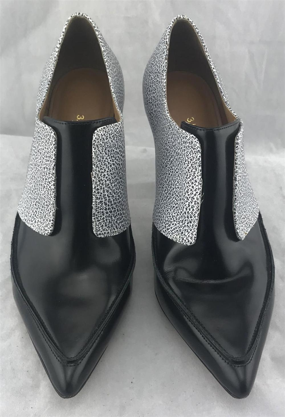 Phillip Lim: Black & White Textured Stiletto Pumps,