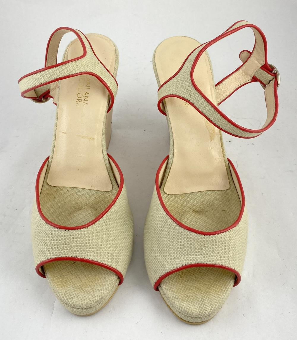 Scanlan & Theodore: Natural Timber & Canvas Wedge Peep-Toe Sandals, Red Leather Binding