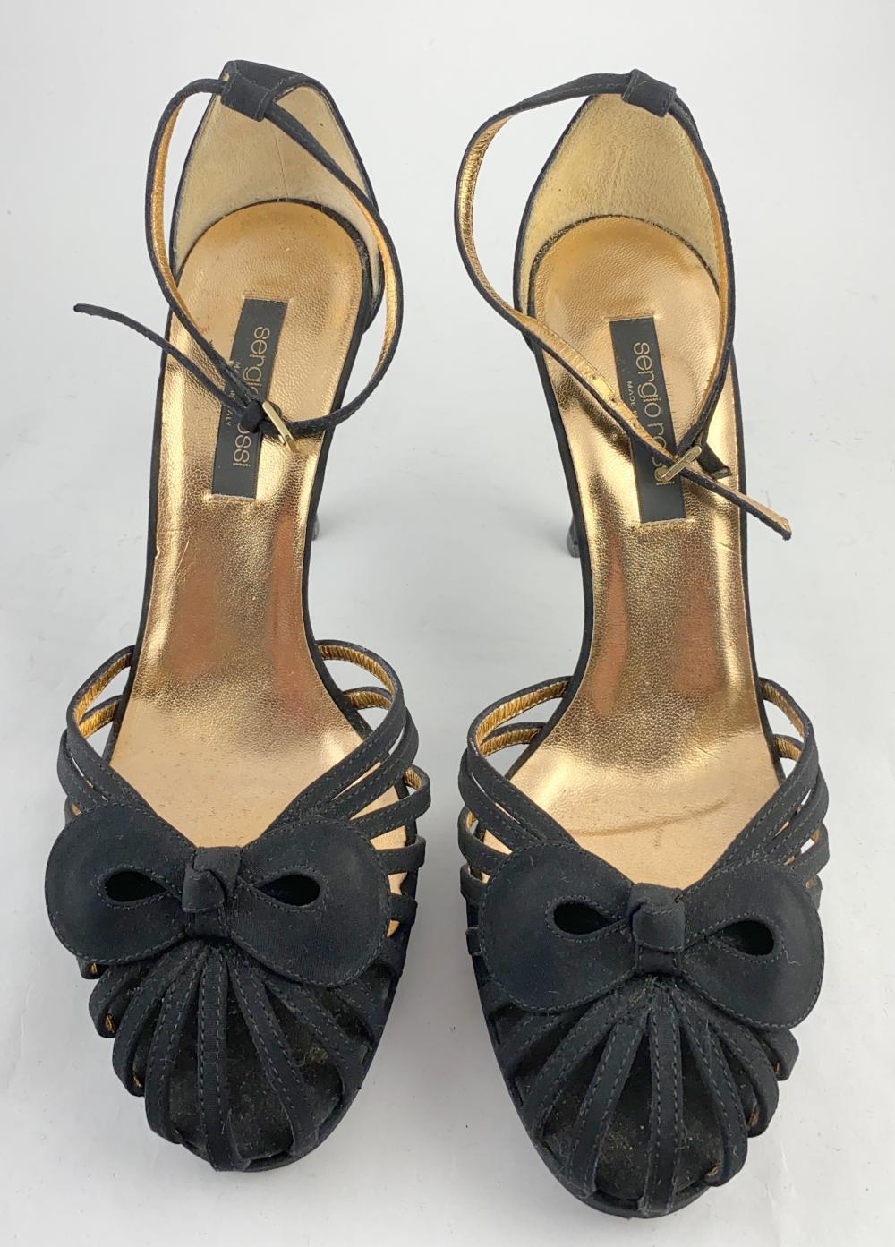 Sergio Rossi, Italy: Black Suede & Leather Stilettos, Bow to Toe