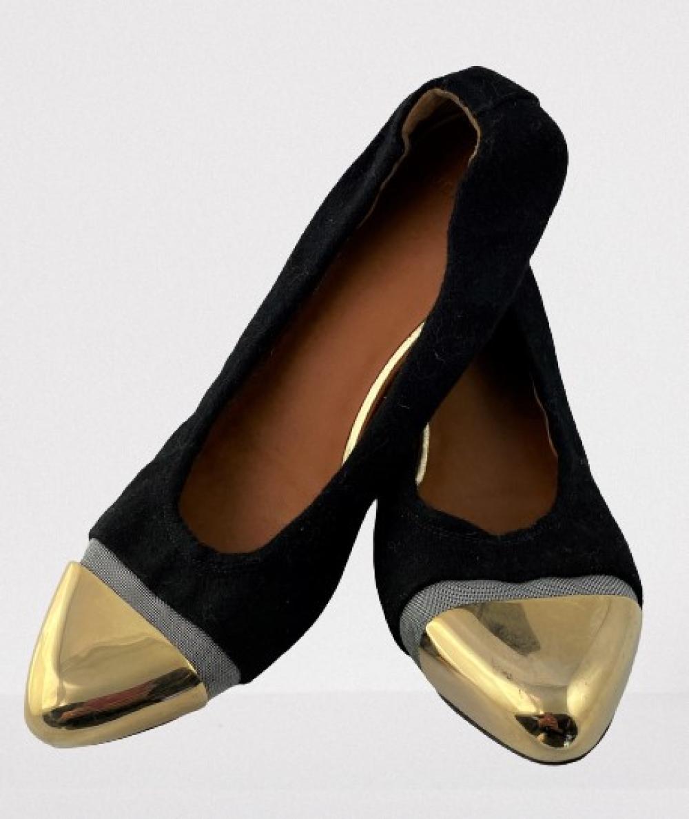 Givenchy, Paris: Black Wool, Silvertone Mesh Stretch Flats, Goldtone Metal Toe