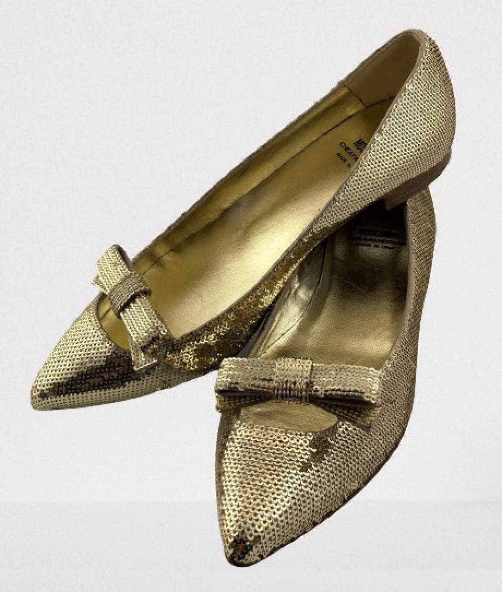 Moschino, Cheap and Chic, Italy: Gold Sequin Bow Flats