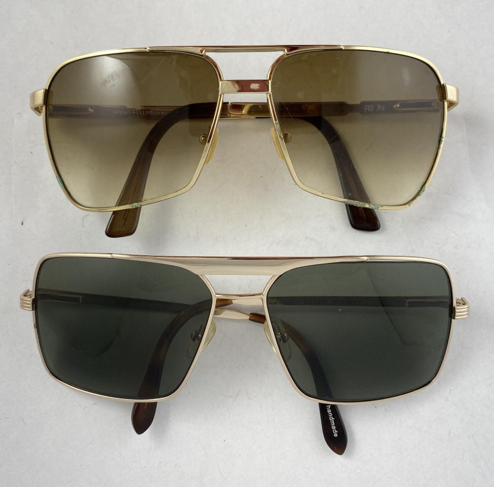 Karen Walker: Goldtone Square Metal Framed Mens Sunglasses, Grey Lenses & All In: Goldtone Square Metal Framed Mens Sunglasses [2 pairs]