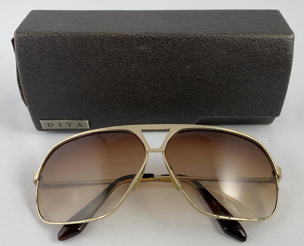 Dita: Goldtone Metal Framed Mens Sunglasses, Original Case