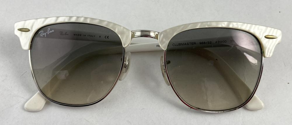 Rayban: Pearlised White Clubmaster Sunglasses, Grey Lenses