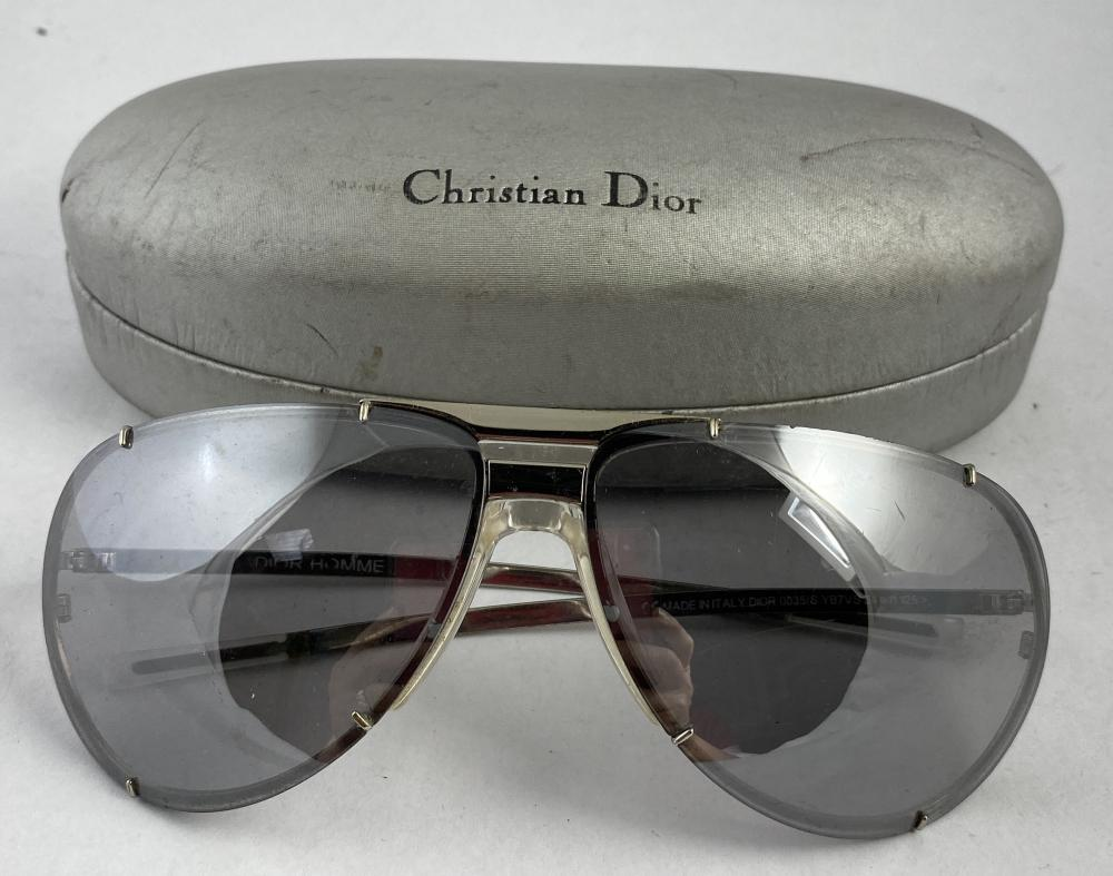 Christian Dior: Dior Homme Silvertone Metal Framed Aviator Sunglasses 0035/S, Grey Reflective Lenses