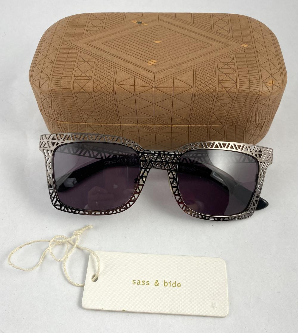 Sass & Bide: Pewtertone Metal Framed Mendoza Sunglasses, Dark Pink Lenses
