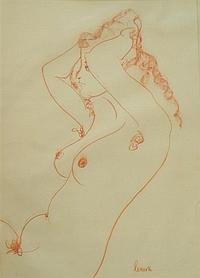 Lenore Boyd (b.1953) Drawing 6 (Seated Nude) Conte on paper
