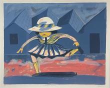 Charles Blackman (1928-2018) School Girl Jumping Colour Lithograph, Ed. AP