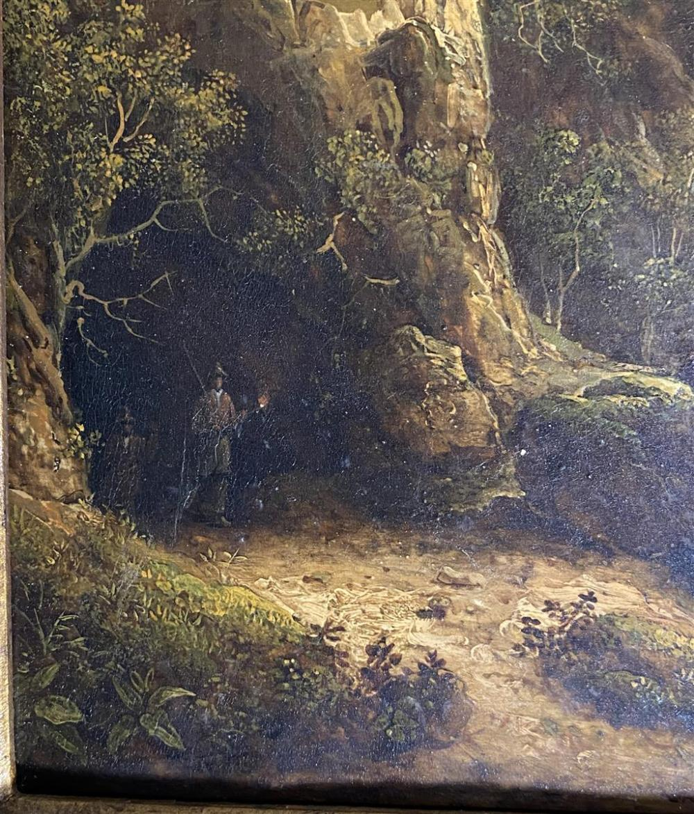 English School , (Early 19th Century), Figures emerging from a Cave & View of Cascades, South America, Oil on panel