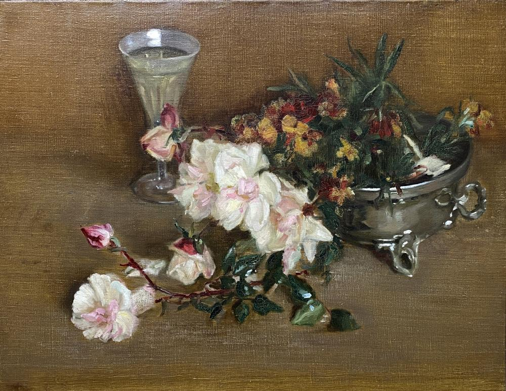 Margaret Rose Preston, (1875-1963), Floral Still Life with Roses in a Silver Bowl, Oil on canvas