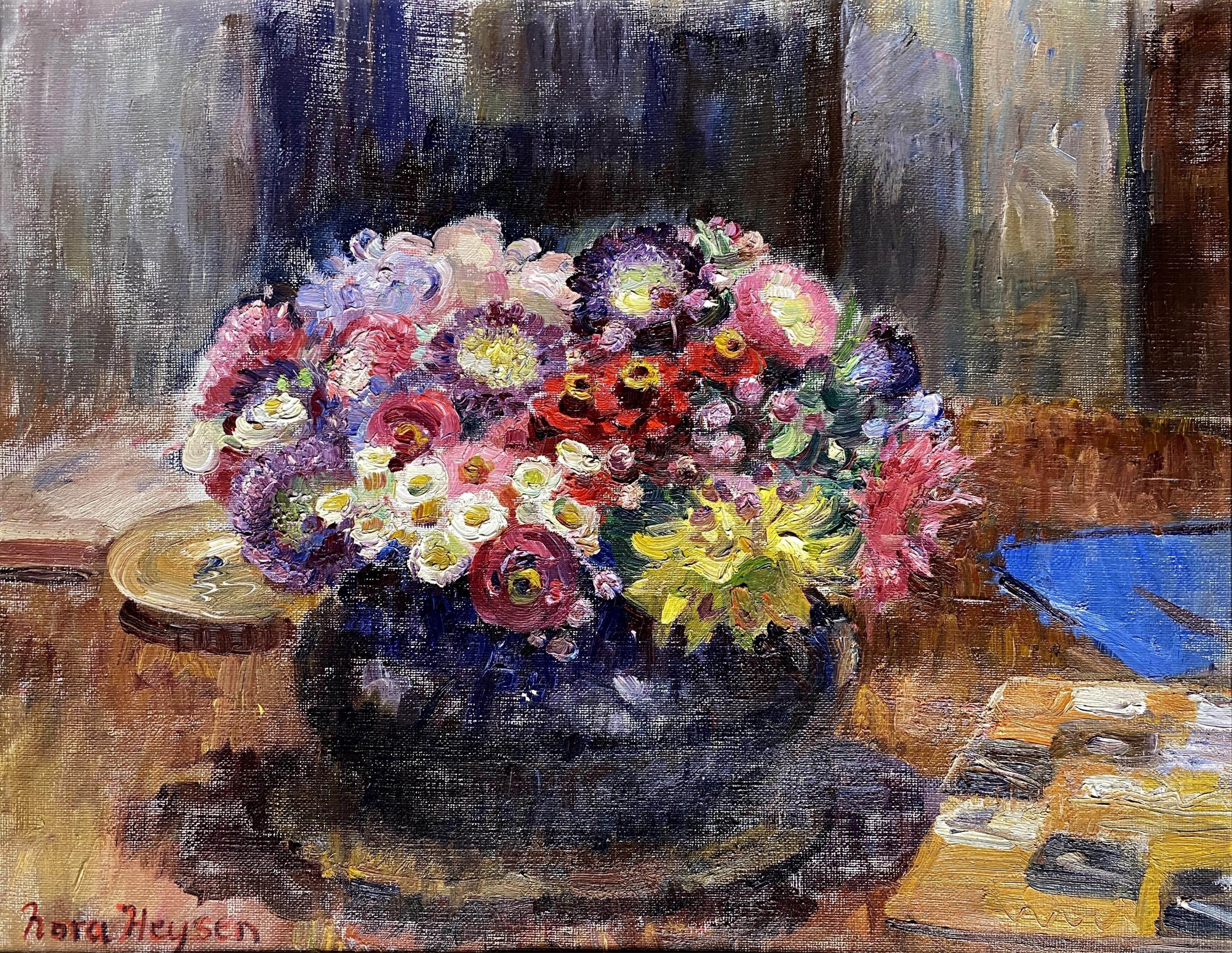 Nora Heysen, (1911-2003), Spring Posey in a Blue Vase, Oil on canvas