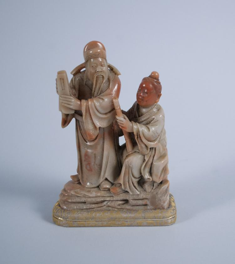 Chinese Carved Soapstone Scholar with Student