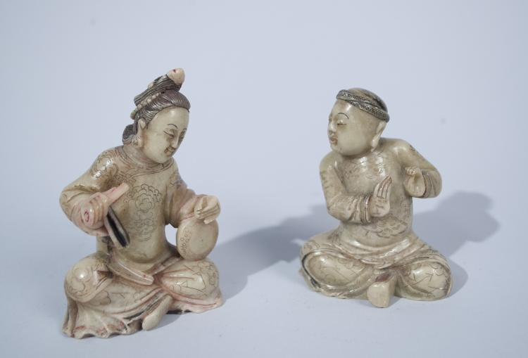 Chinese Soapstone Figures of a Courting Couple