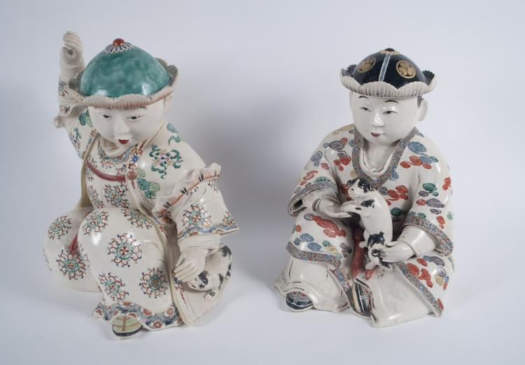 Proto Satsuma Japanese Figures of Boys and Dogs