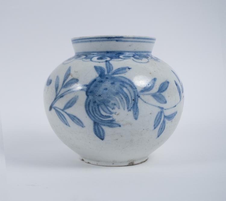 Korean Joseon Period Blue and White Jar