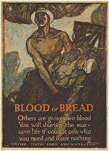 BLOOD OR BREAD; Original 1917 World War 1 Vintage Poster
